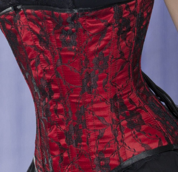 82ce3932da2 Red Satin and Black Lace Long Line Underbust Corset