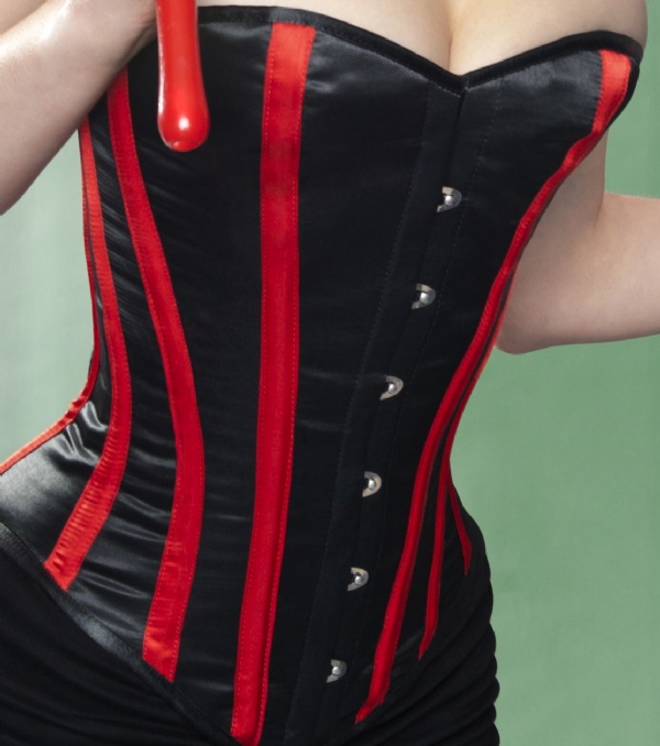 f7db89729a Black and Red Satin Striped Overbust Corset