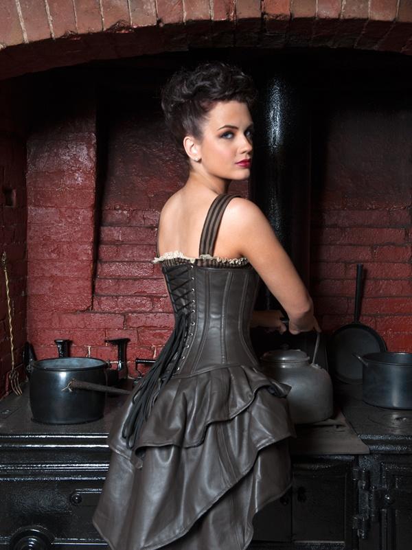 brown leather underbust corset dress belle Époque corsets